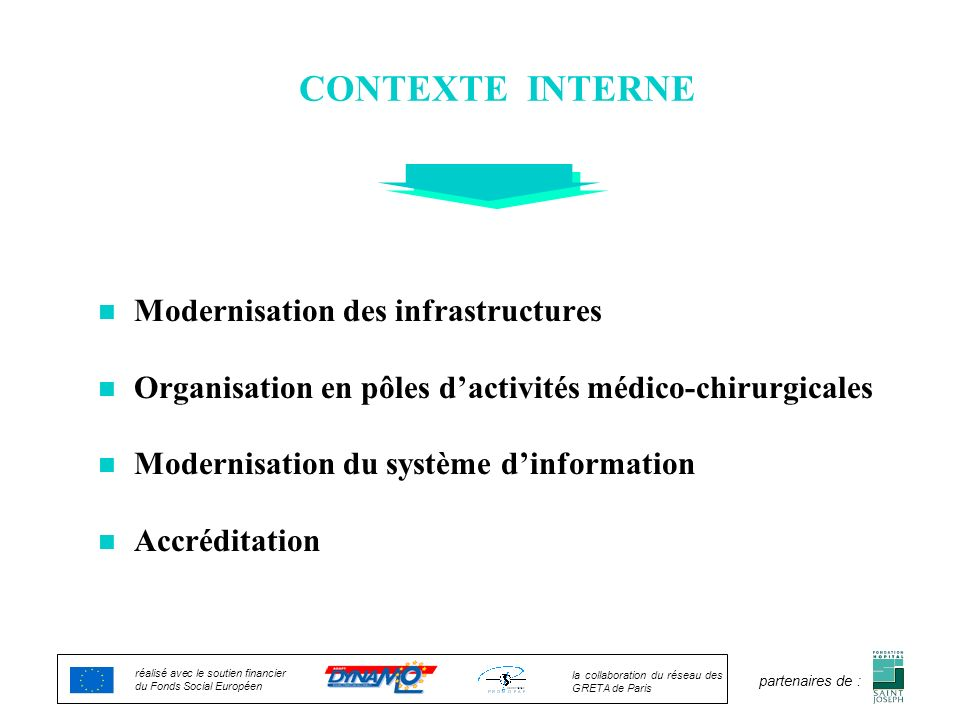 CONTEXTE INTERNE Modernisation des infrastructures