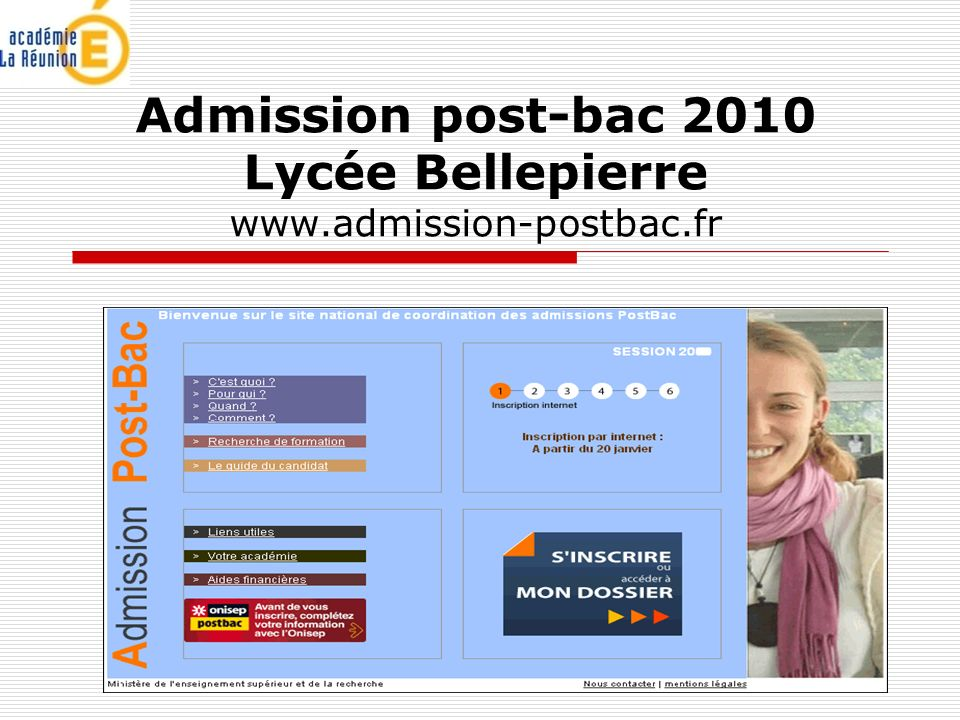 Admission post-bac 2010 Lycée Bellepierre www.admission-postbac.fr