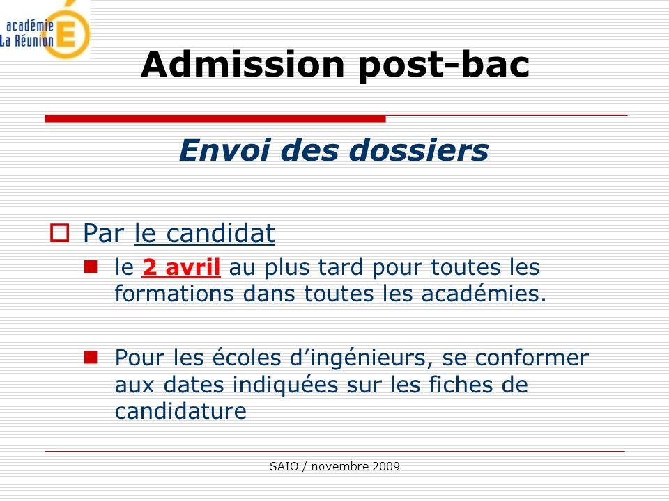 Admission post-bac Envoi des dossiers Par le candidat