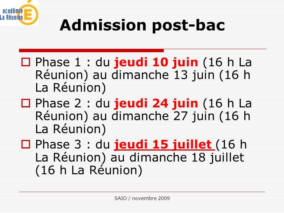 Admission post-bac Phase 1 : du jeudi 10 juin (16 h La Réunion) au dimanche 13 juin (16 h La Réunion)
