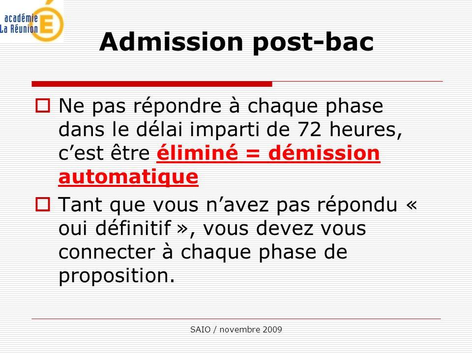 Admission post-bac Ne pas répondre à chaque phase dans le délai imparti de 72 heures, c'est être éliminé = démission automatique.