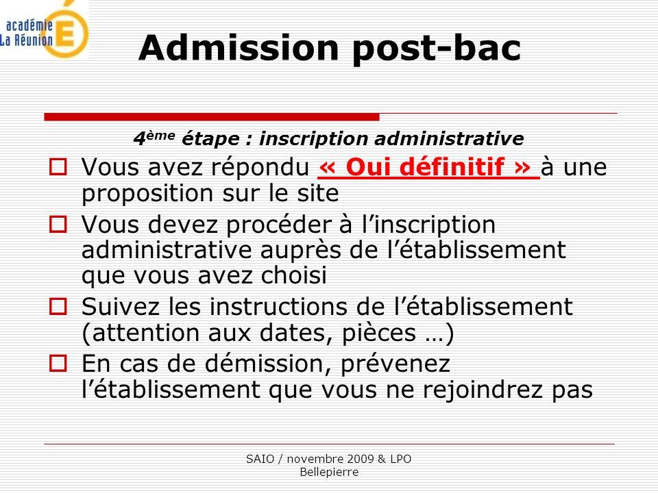 4ème étape : inscription administrative