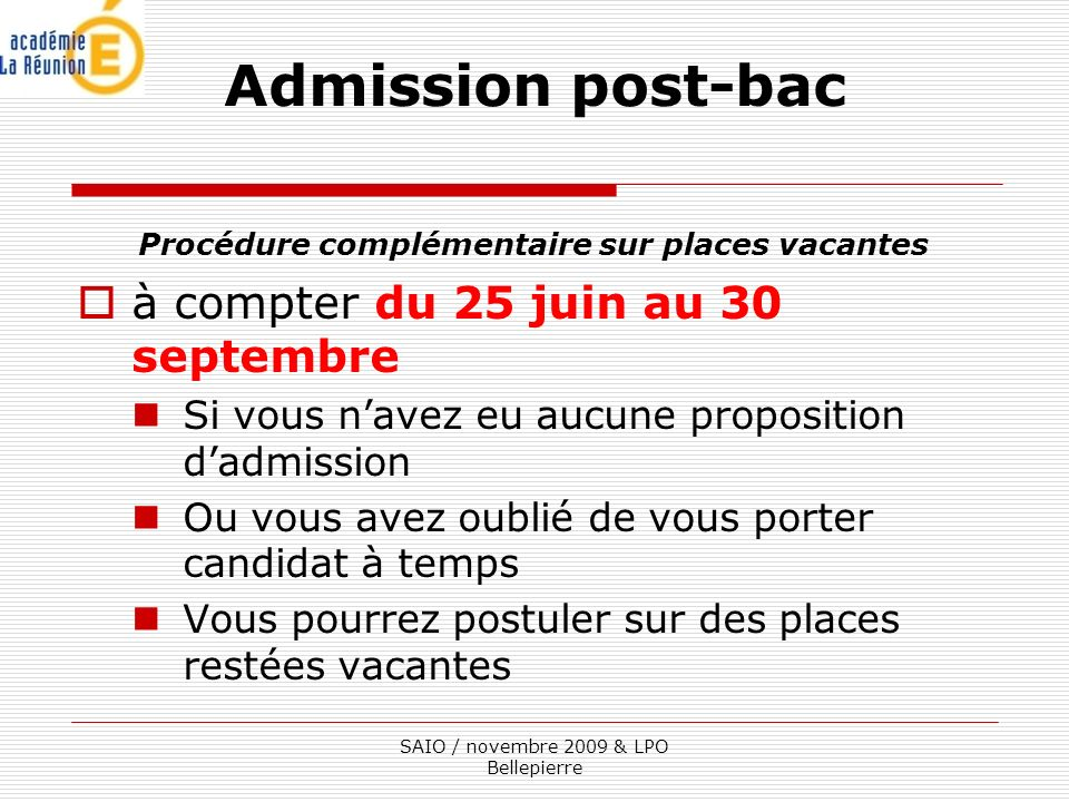 Admission post-bac à compter du 25 juin au 30 septembre