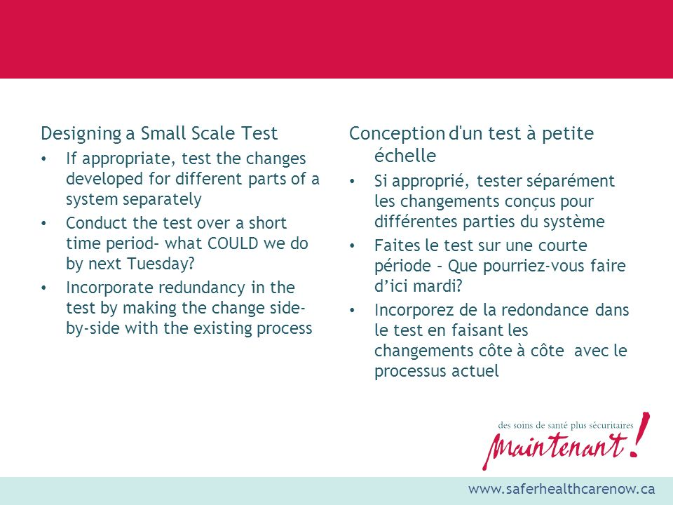 Designing a Small Scale Test Conception d un test à petite échelle