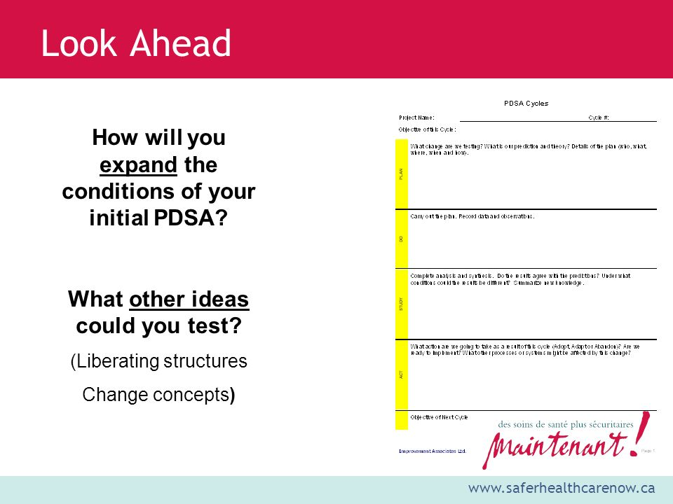 Look Ahead How will you expand the conditions of your initial PDSA