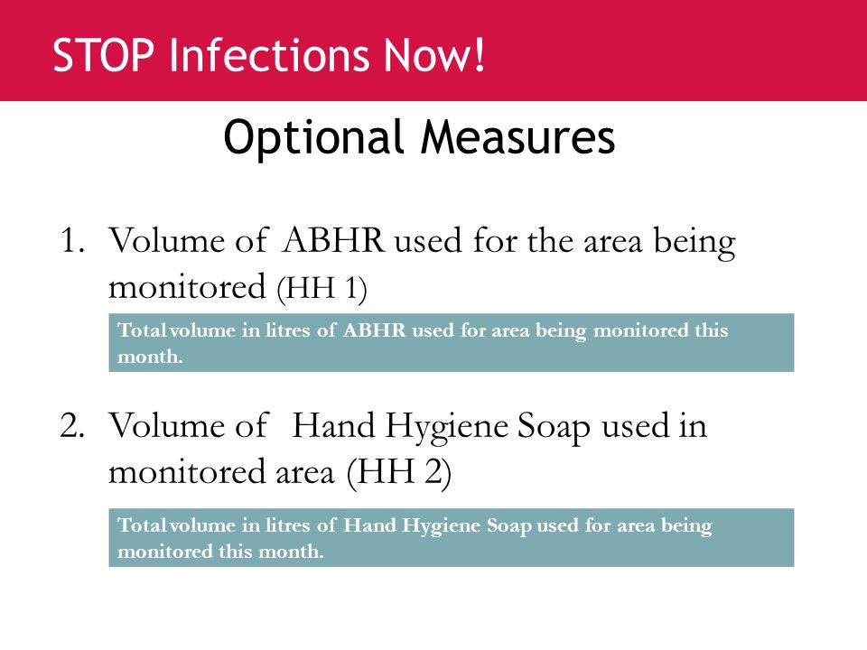 Optional Measures Volume of ABHR used for the area being monitored (HH 1) Volume of Hand Hygiene Soap used in monitored area (HH 2)