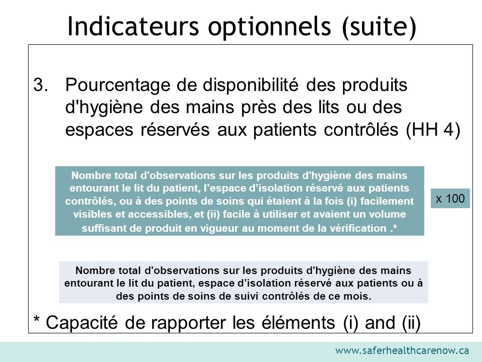 Indicateurs optionnels (suite)