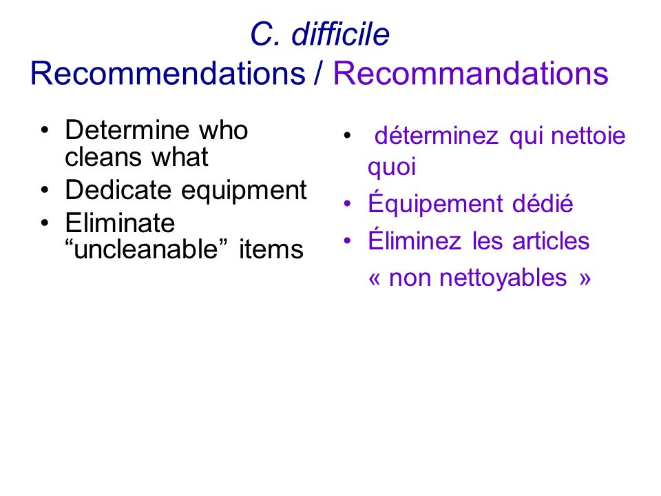 C. difficile Recommendations / Recommandations