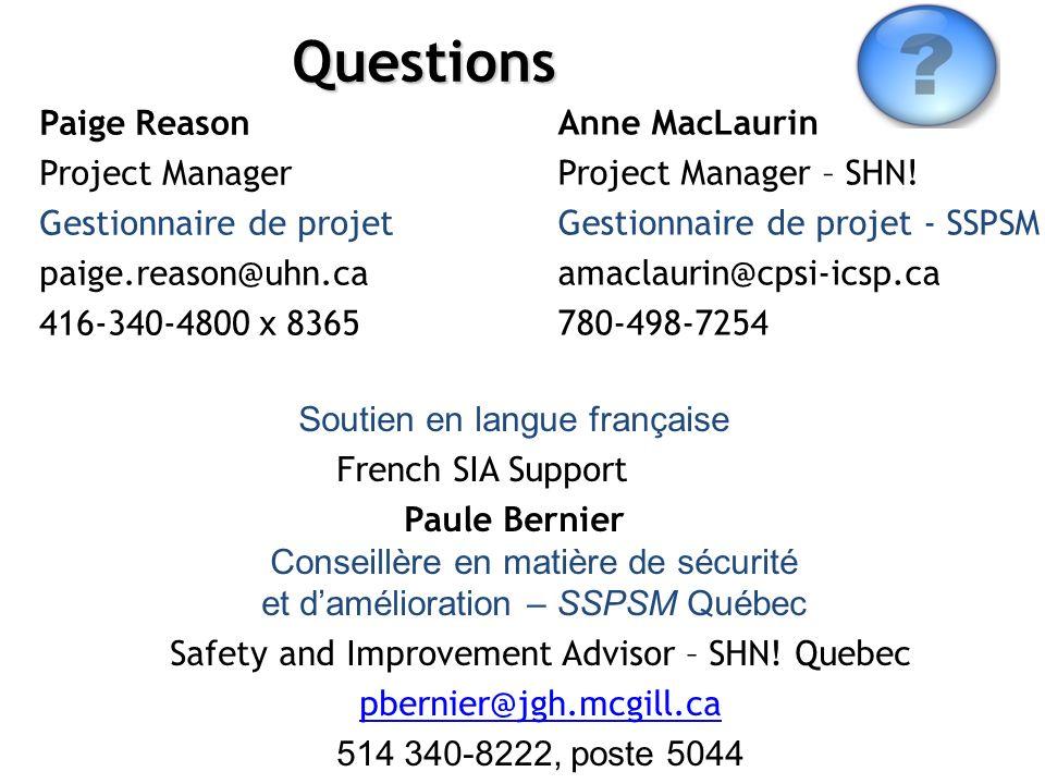 Questions Paige Reason Project Manager Gestionnaire de projet