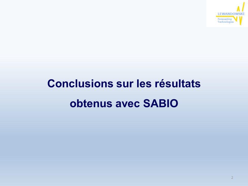Conclusions sur les résultats obtenus avec SABIO