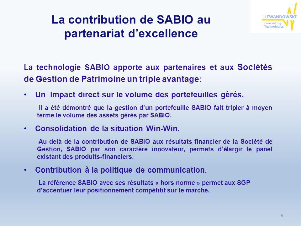 La contribution de SABIO au partenariat d'excellence
