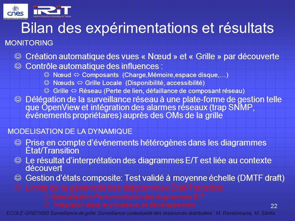Bilan des expérimentations et résultats