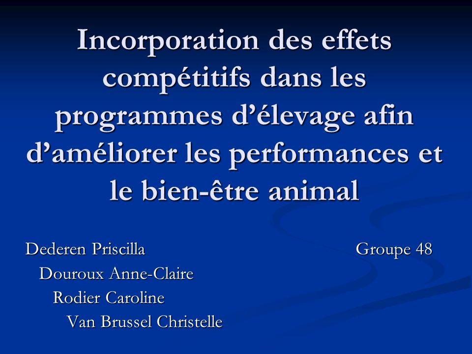 Incorporation des effets compétitifs dans les programmes d'élevage afin d'améliorer les performances et le bien-être animal