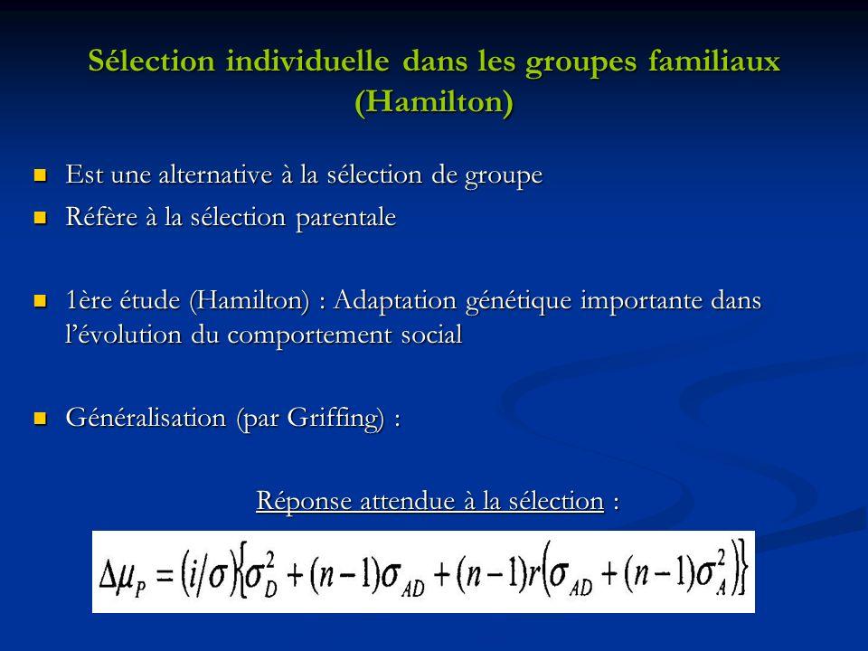 Sélection individuelle dans les groupes familiaux (Hamilton)