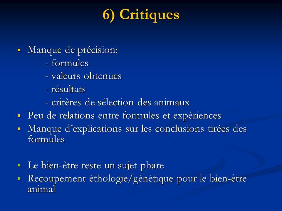 6) Critiques Manque de précision: - formules - valeurs obtenues