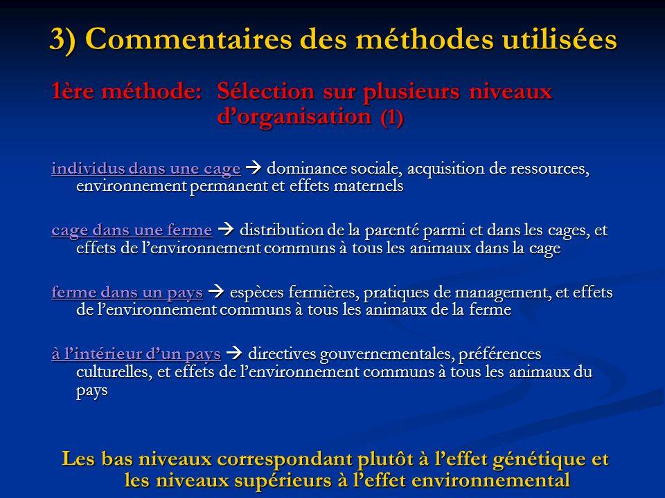 3) Commentaires des méthodes utilisées
