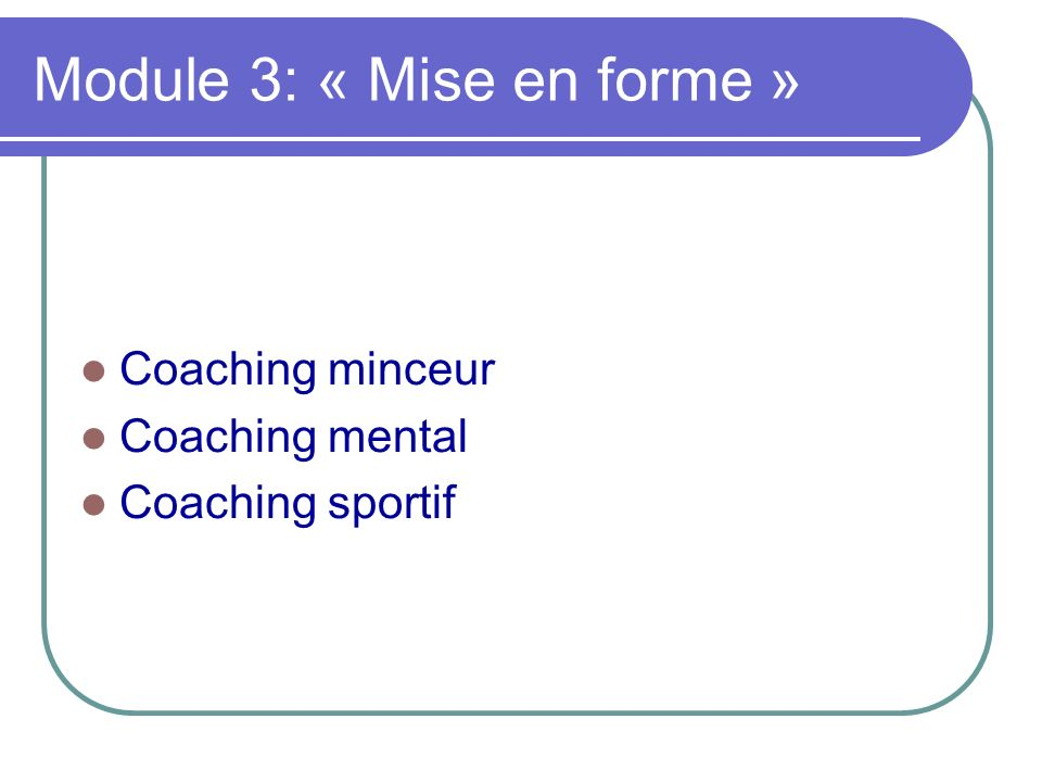 Module 3: « Mise en forme »