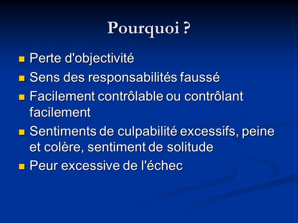 Pourquoi Perte d objectivité Sens des responsabilités faussé