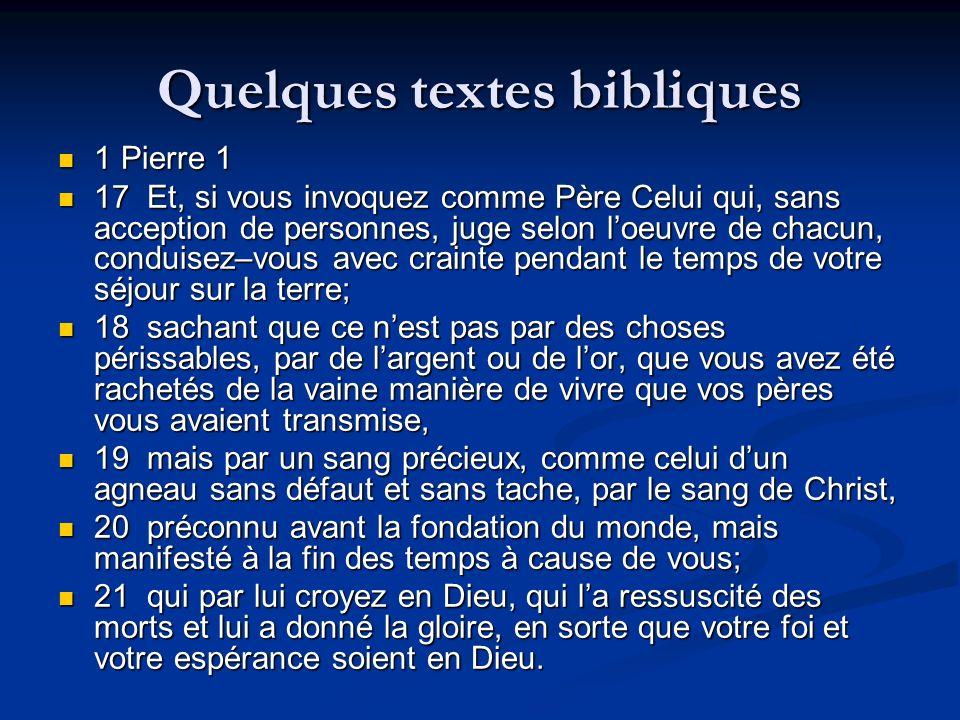 Quelques textes bibliques