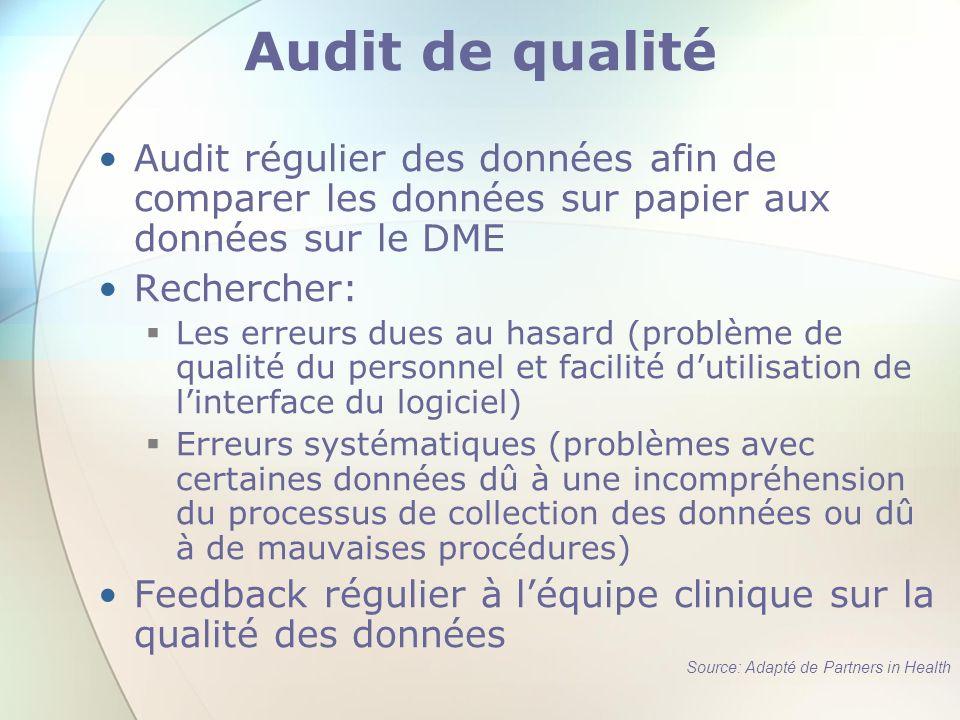 Audit de qualité Audit régulier des données afin de comparer les données sur papier aux données sur le DME.