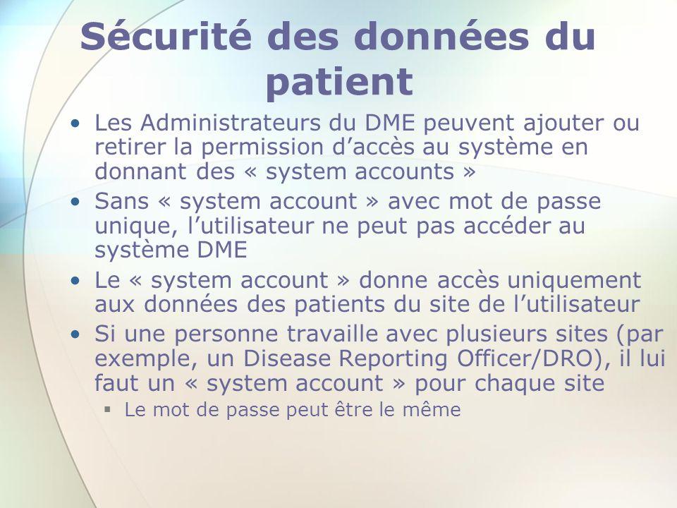 Sécurité des données du patient
