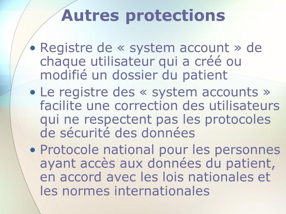 Autres protections Registre de « system account » de chaque utilisateur qui a créé ou modifié un dossier du patient.