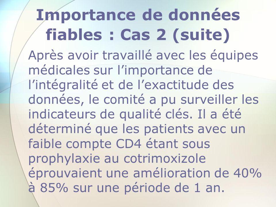 Importance de données fiables : Cas 2 (suite)