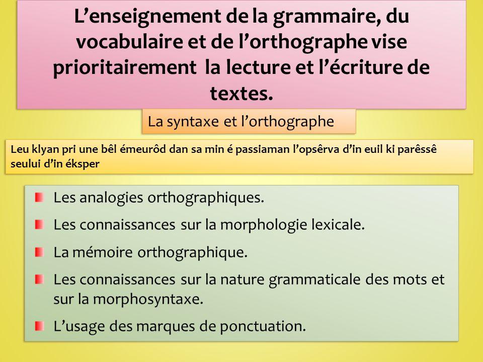 L'enseignement de la grammaire, du vocabulaire et de l'orthographe vise prioritairement la lecture et l'écriture de textes.