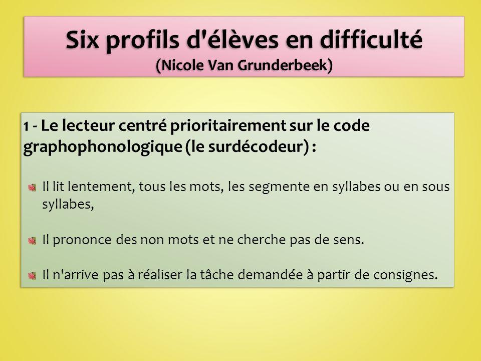 Six profils d élèves en difficulté (Nicole Van Grunderbeek)