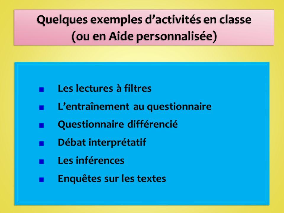 Quelques exemples d'activités en classe (ou en Aide personnalisée)