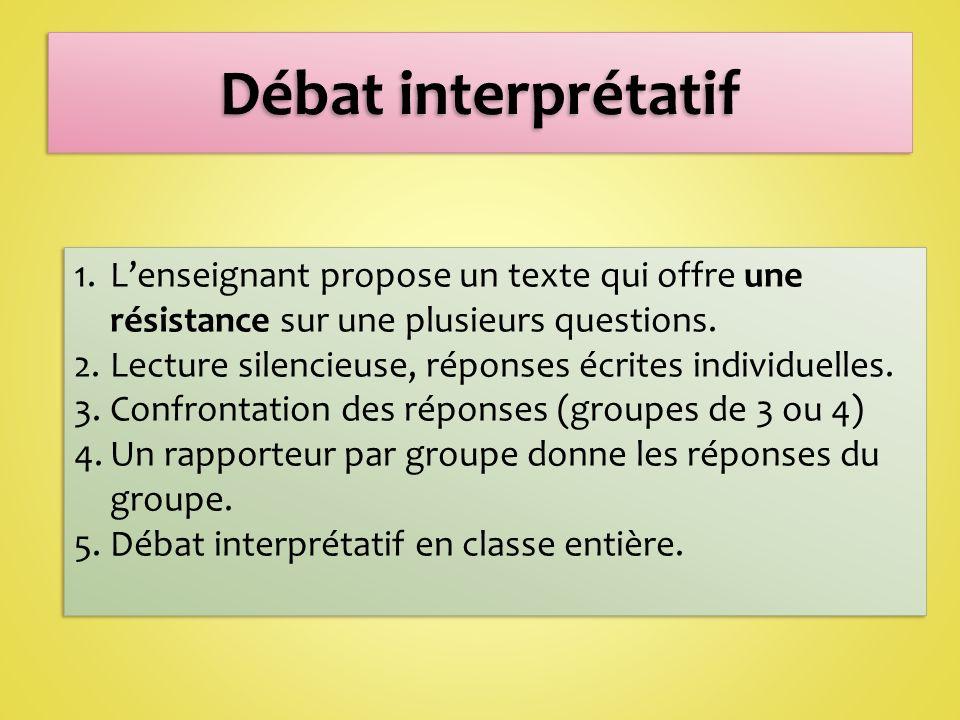 Débat interprétatif L'enseignant propose un texte qui offre une résistance sur une plusieurs questions.
