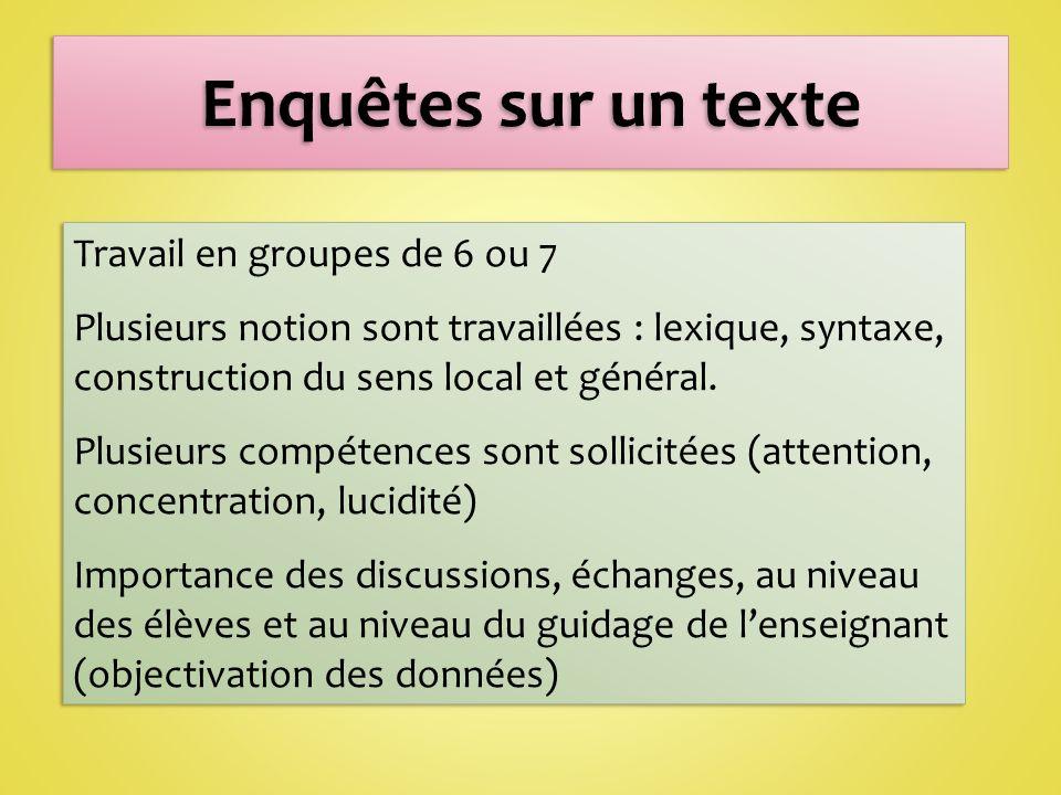 Enquêtes sur un texte Travail en groupes de 6 ou 7