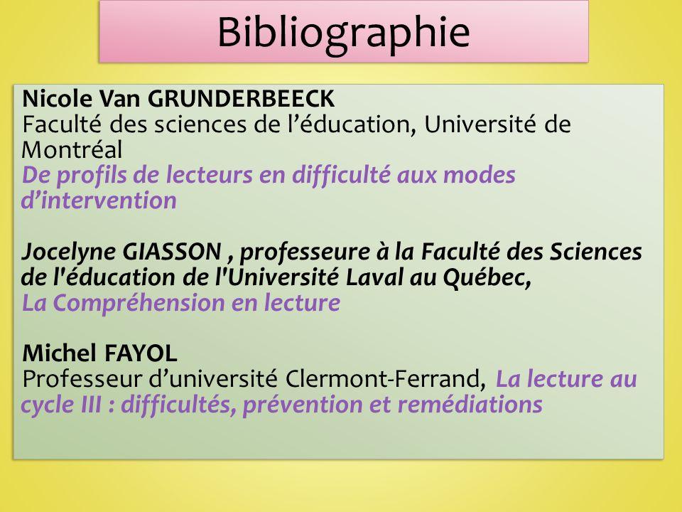 Bibliographie Nicole Van GRUNDERBEECK