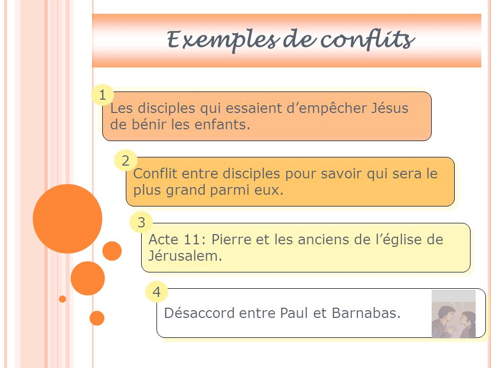 Exemples de conflits 1. Les disciples qui essaient d'empêcher Jésus de bénir les enfants. 2.