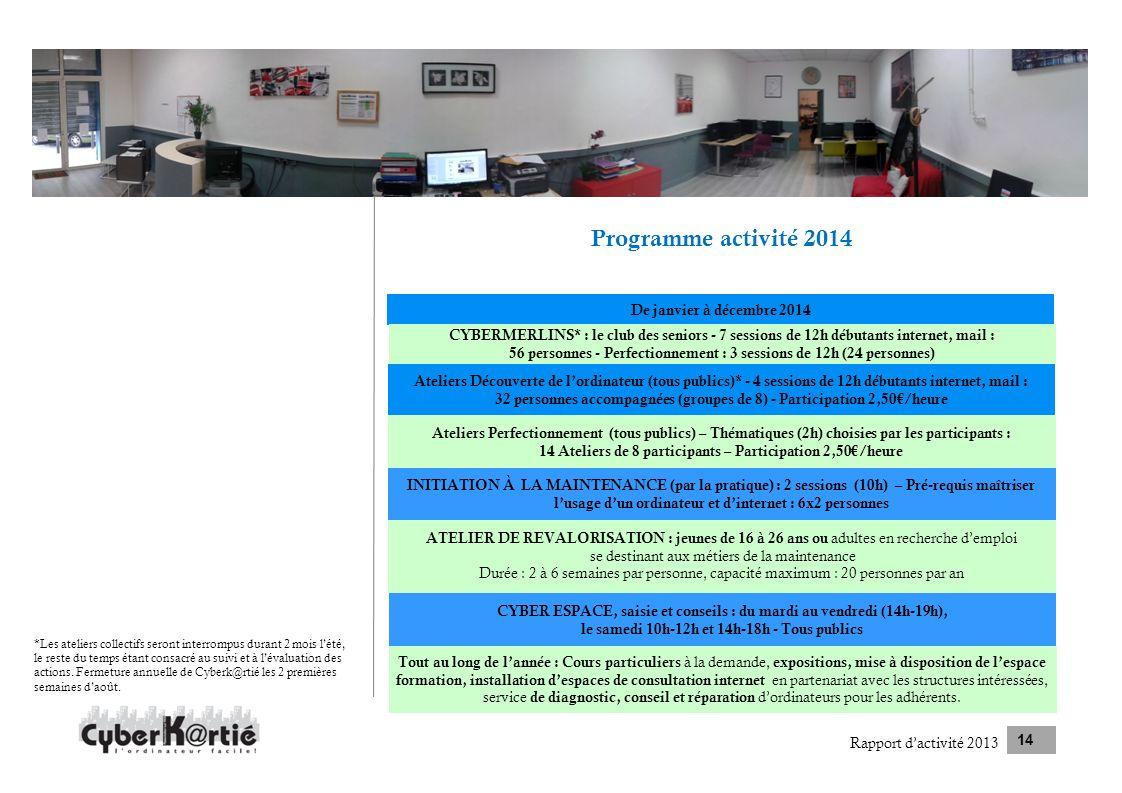 Programme activité 2014 De janvier à décembre 2014
