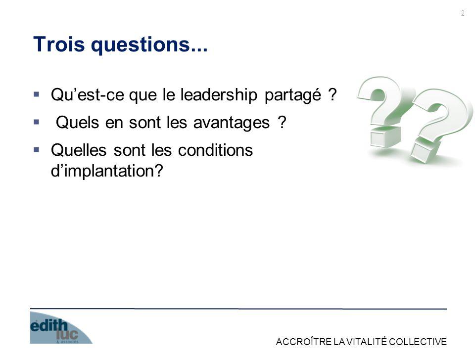 Trois questions... Qu'est-ce que le leadership partagé