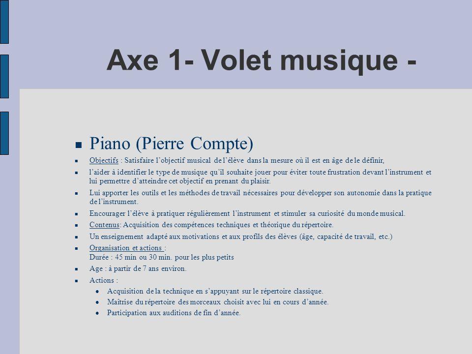 Axe 1- Volet musique - Piano (Pierre Compte)