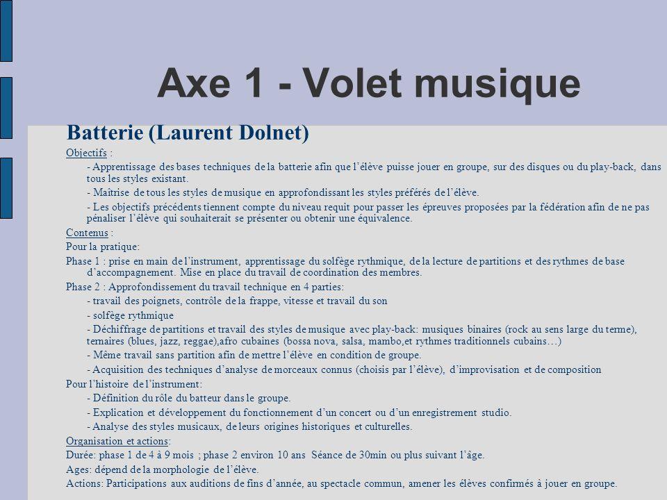 Axe 1 - Volet musique Batterie (Laurent Dolnet) Objectifs :