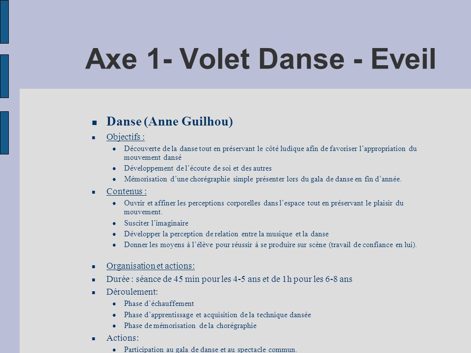 Axe 1- Volet Danse - Eveil