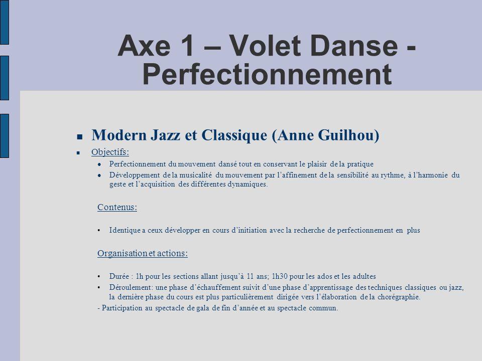 Axe 1 – Volet Danse - Perfectionnement