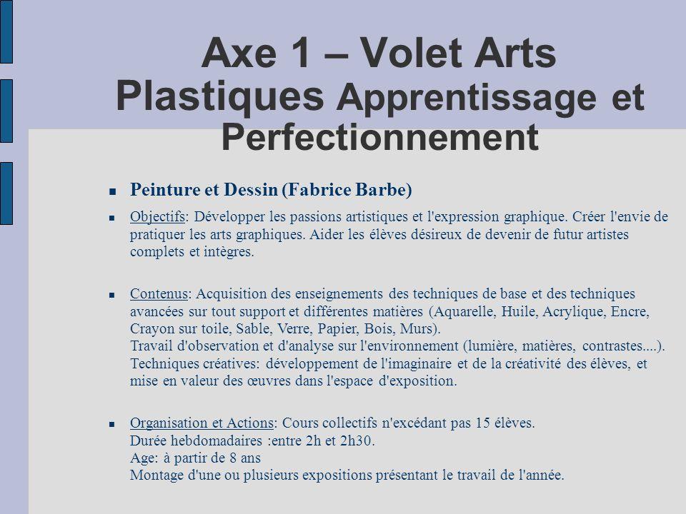 Axe 1 – Volet Arts Plastiques Apprentissage et Perfectionnement