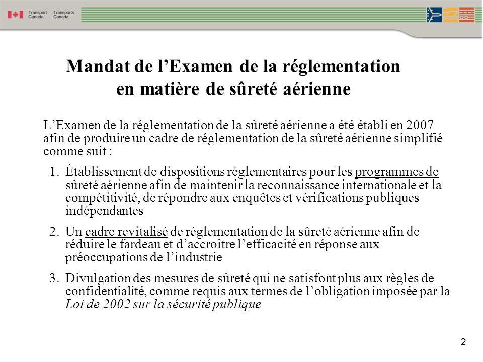 Mandat de l'Examen de la réglementation en matière de sûreté aérienne