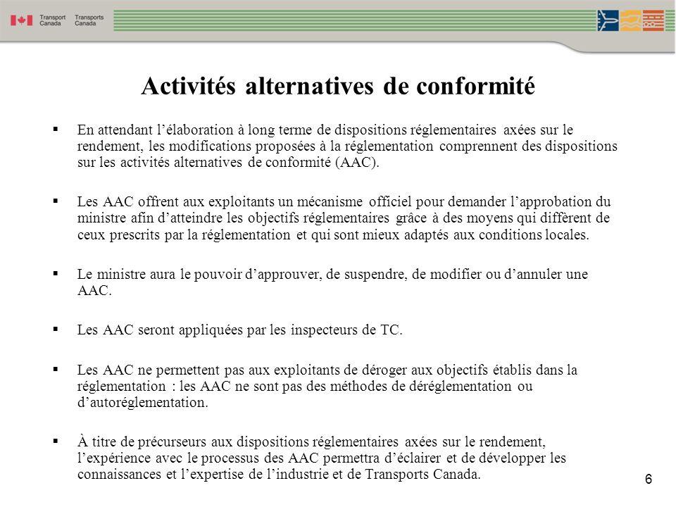 Activités alternatives de conformité