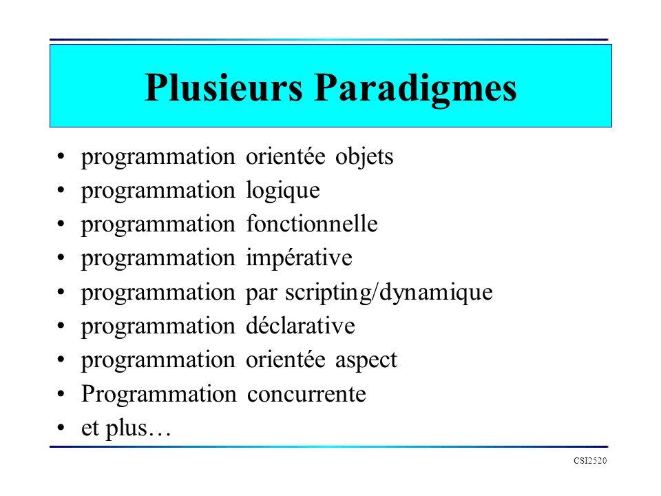 Plusieurs Paradigmes programmation orientée objets