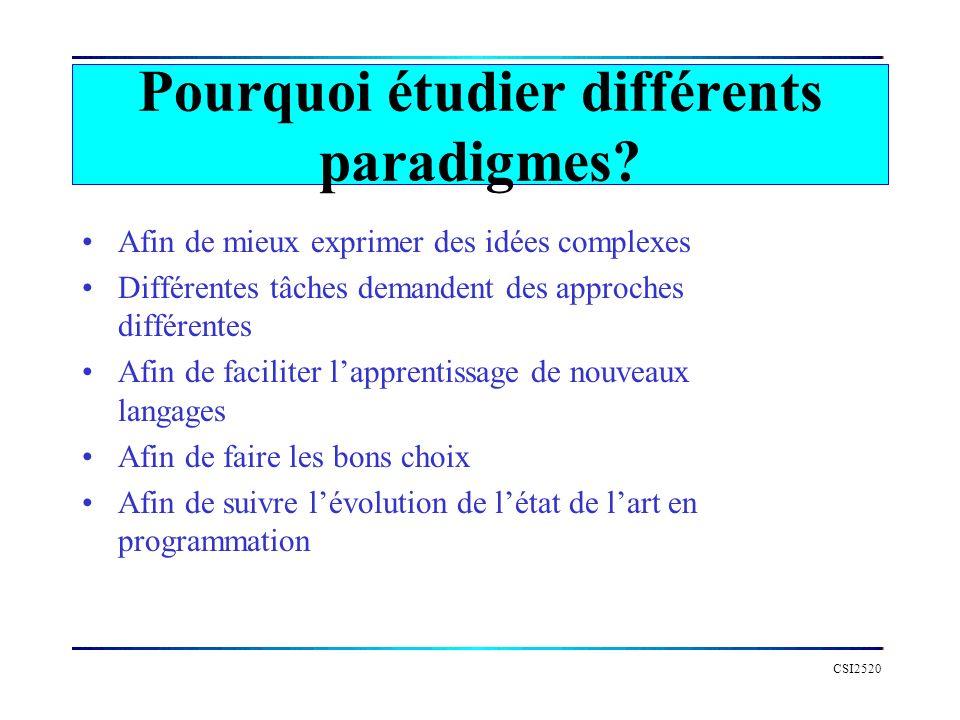 Pourquoi étudier différents paradigmes