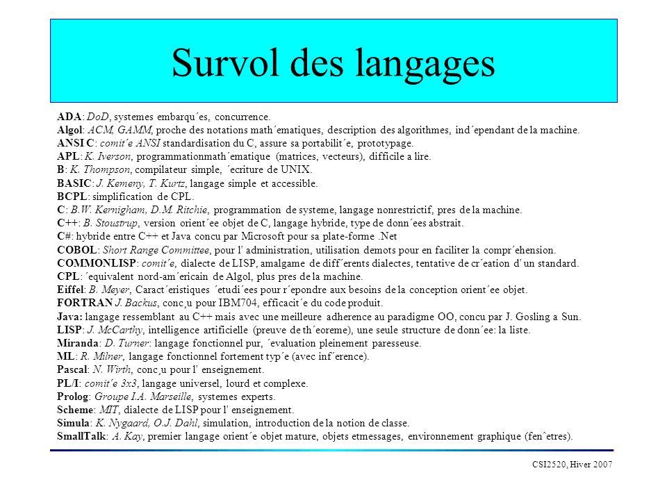 Survol des langages ADA: DoD, systemes embarqu´es, concurrence.
