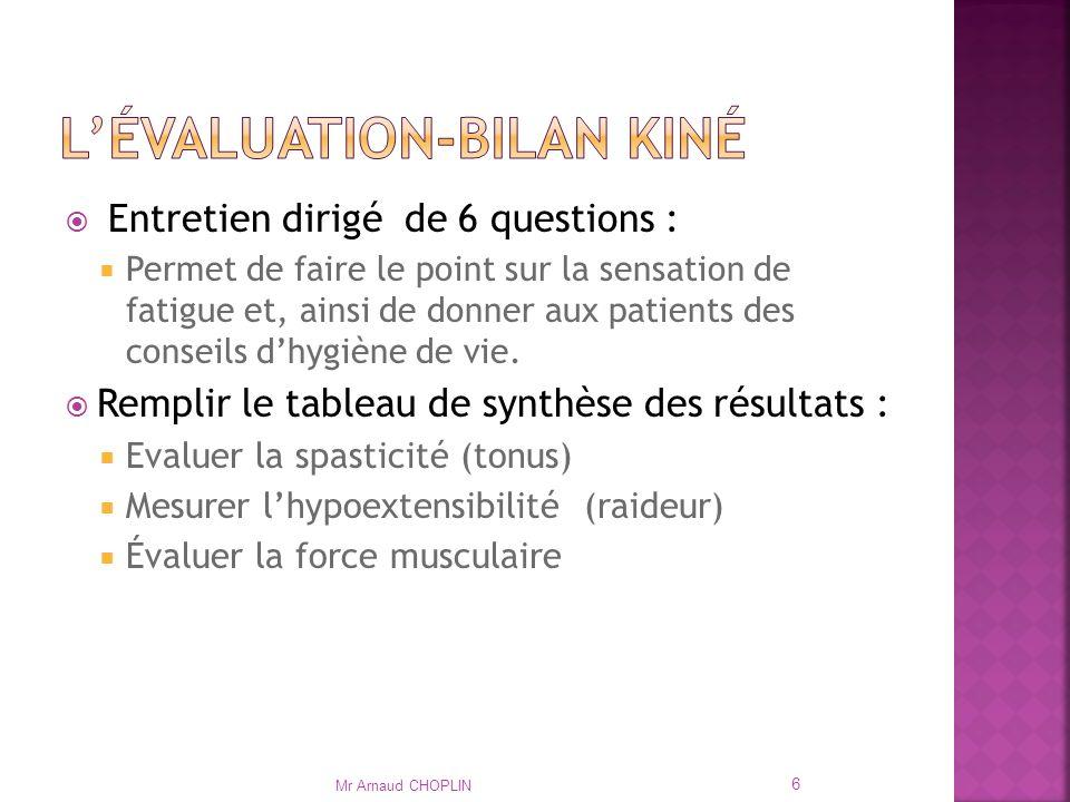 L'évaluation-bilan kiné