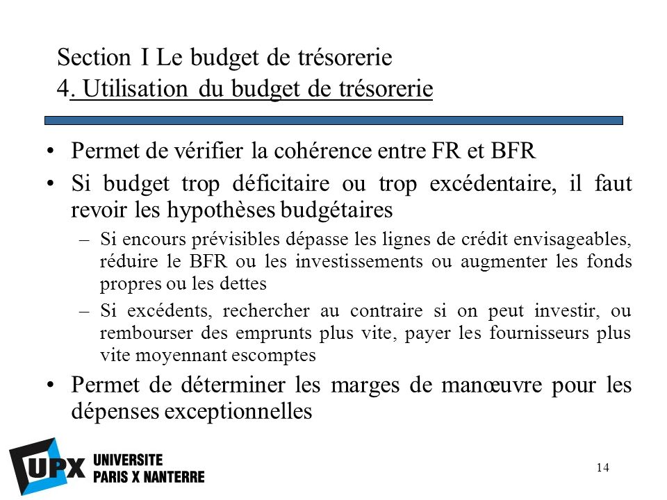 Section I Le budget de trésorerie 4