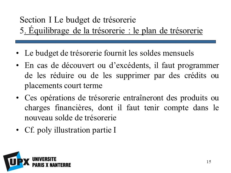 Section I Le budget de trésorerie 5