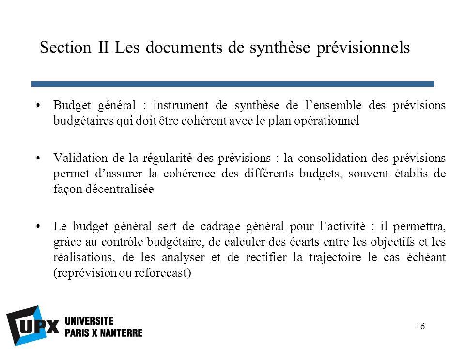 Section II Les documents de synthèse prévisionnels